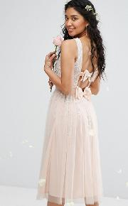 Embellished Midi Dress With Double Bow