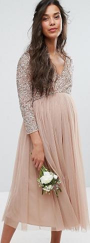 3/4 sleeve midi dress with delicate sequin and tulle skirt