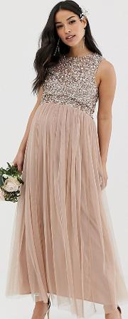 Bridesmaid Sleeveless Midaxi Tulle Dress With Tonal Delicate Sequin Overlay Taupe Blush
