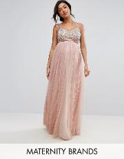 embellished bodice cami maxi dress with tulle skirt and bow back