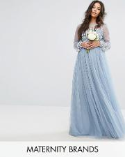 embellished bodice maxi dress with sequin blouson cuffs