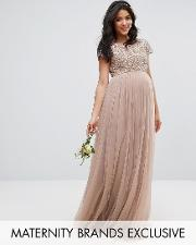 maxi dress with delicate sequin and tulle skirt