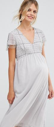 Midi Dress With Embellished Bodice And Fringed Sequin Detail