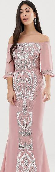 All Over Embellished Bardot Maxi Dress With Fluted Sleeves