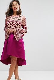 Allover Embellished Top Midi Dress With Assymetric Skirt