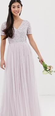 7add97ce Bridesmaid V Neck Maxi Tulle Dress With Tonal Delicate Sequin Soft Lilac