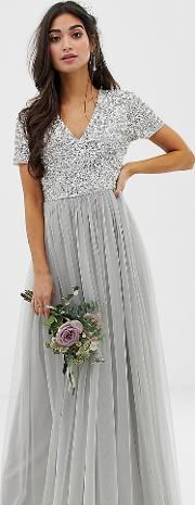 Bridesmaid V Neck Maxi Tulle Dress With Tonal Delicate Sequins Soft