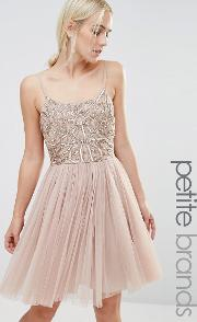 cami strap mini dress with tulle skirt and embellishment