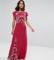 Embellished Maxi Dress With Fluted Sleeve
