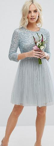 Sleeve Mini Dress With Delicate Sequin And Tulle Skirt