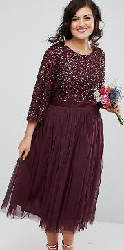 Bell Sleeve Midi Dress In Tonal Delicate Sequin With Tulle Skirt And Kimono