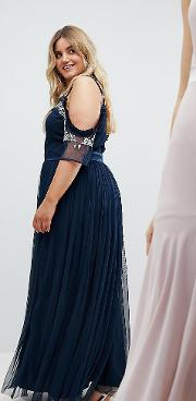 cold shoulder sequin detail tulle maxi dress with ruffle