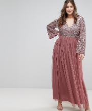 Long Sleeve  Neck Maxi Dress With Tonal Delicate Sequins