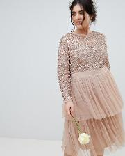 long sleeve sequin top midi dress with tiered tulle skirt