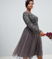 long sleeve wrap front midi dress with delicate sequin and tulle skirt  charcoal