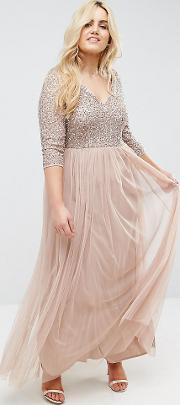 Sleeve  Neck Maxi Dress With Delicate Sequin And Tulle Skirt