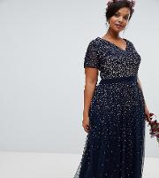 v neck maxi tulle dress with contrast tonal delicate sequins  navy