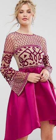 Allover Embellished Top Midi Dress With Asymmetric Skirt