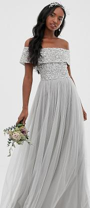 Bridesmaid Bardot Maxi Tulle Dress With Tonal Delicate Sequins Soft
