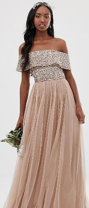 Bridesmaid Bardot Maxi Tulle Dress With Tonal Delicate Sequins Taupe Blush