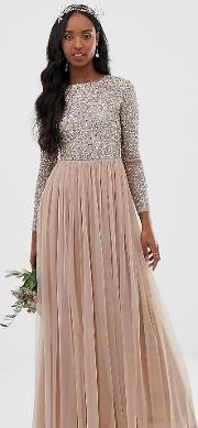 9f1ca8ab Bridesmaid Long Sleeve Maxi Tulle Dress With Tonal Delicate Sequins Taupe  Blush. maya tall