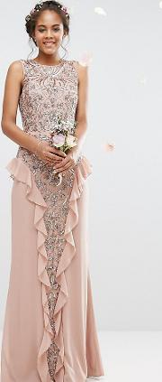 Embellished Maxi Dress With Ruffle Skirt Detail