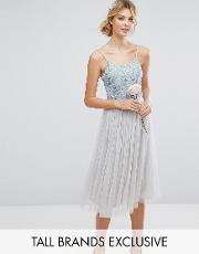 embellished top midi dress with full tulle prom skirt