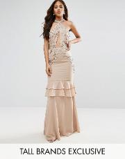 high neck embellished plunge front maxi dress with frill skirt detail