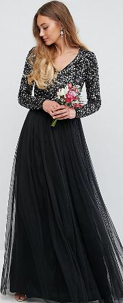 Plunge Front Long Sleeve Maxi Dress In Tonal Delicate Sequin And Tulle Skirt