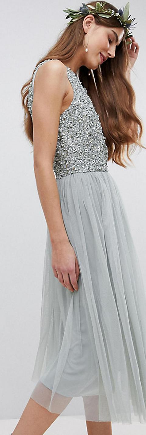 8637c29395eb sleeveless sequin bodice tulle detail midi bridesmaid dress with cutout back