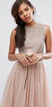Sleeveless Sequin Top Midi Dress With Tulle Skirt And Bow Back Detail