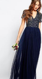 V Neck Maxi Tulle Dress With Tonal Delicate Sequins
