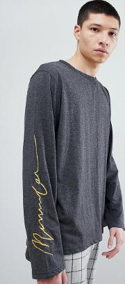 long sleeve t shirt in charcoal