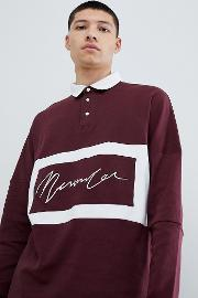 oversized rugby polo shirt in burgundy