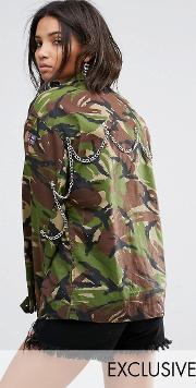 vintage camo jacket with back chains