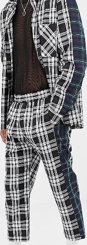 Vintage Relaxed Check Trousers With Contrast Side Stripe