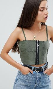 Vintage Reworked Military Cami Top With Zip
