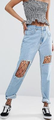 vintage straight leg jeans with beading