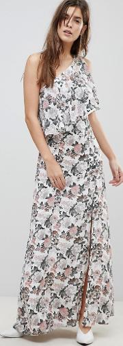 swiss floral one shouldered button detail dress