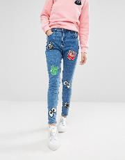 Denim Skinny Jeans With Badge Details