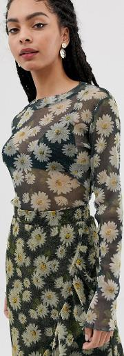 Moves By Floral Mesh Top