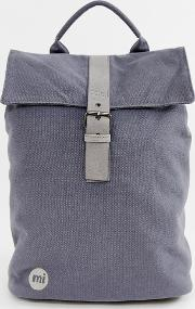mi pac canvas fold top backpack in charcoal