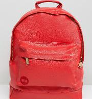 Mi Pac Exclusive Tumbled Faux Leather Backpack In Scarlett Red