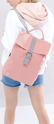 mi pac fold top canvas backpack in rose pink