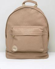mi pac tumbled backpack in faux leather beige
