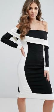 collection off shoulder illusion panelled pencil dress