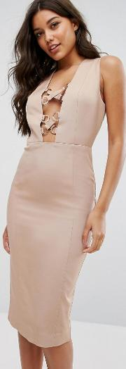 collection pencil dress with lace up plunge