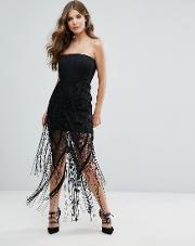 collection structured bandeau mini dress with fringe overlay