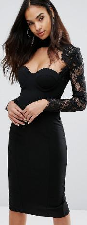 collection sweetheart pencil dress with eyelash lace sleeves