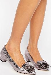 anita pewter mid heeled loafers